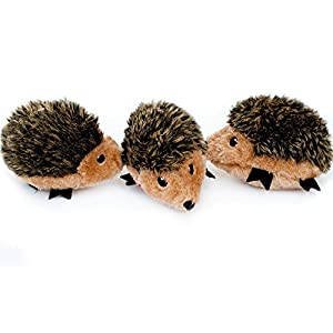 ZippyPaws – Woodland Friends Burrow, Interactive Squeaky Hide and Seek Plush Dog Toy – Hedgehog Miniz, 3 Pack
