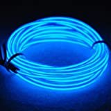 TDLTEK Sound Activated Neon Glowing Strobing Electroluminescent Wire/El Wire, Blue 9ft