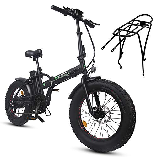 ECOTRIC Powerful Foldable Fat Tire Bike 48V 13AH Li-ion Battery 500W Motor 20' x4.0 inch Fat Tire Aluminum Frame Electric Mountain Beach Snow Ebike Bicycle (Gift RearRack)