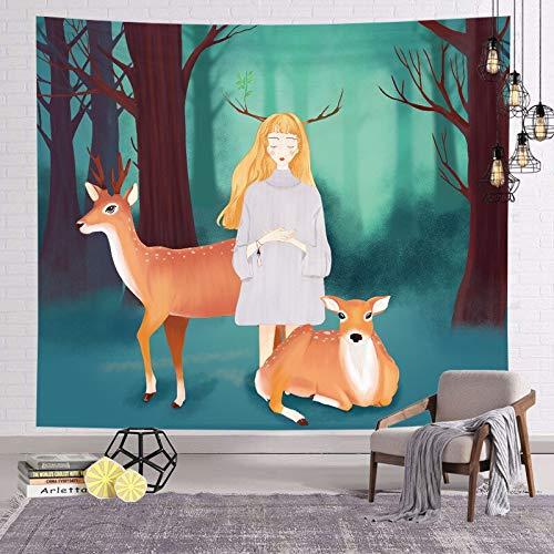 WERT Tapiz de decoración de niña Linda Tapiz de Pelo Corto, decoración del hogar Fondo de cabecera Tapiz de Tela Tapiz de Pared A4 150x200cm