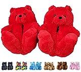 teddy bear slippers - LELEBEAR Teddy Bear Slippers, Plush Animal Slippers Winter Warm Shoes (Red)