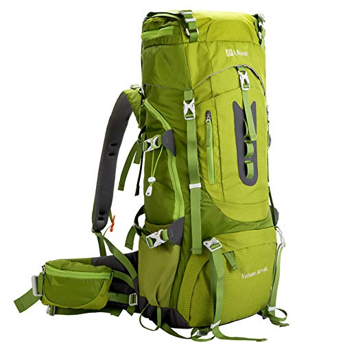 Ubon 60L Ventilated Camping Backpack for Adventure Sports with Rainfly Green