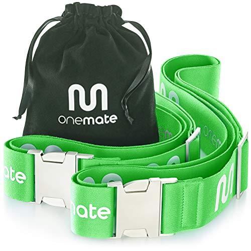 ONEMATE Koffergurt-Set mit Metallschnalle – Unfassbar Robustes Kofferband für 100% Sichere Reisen - grün