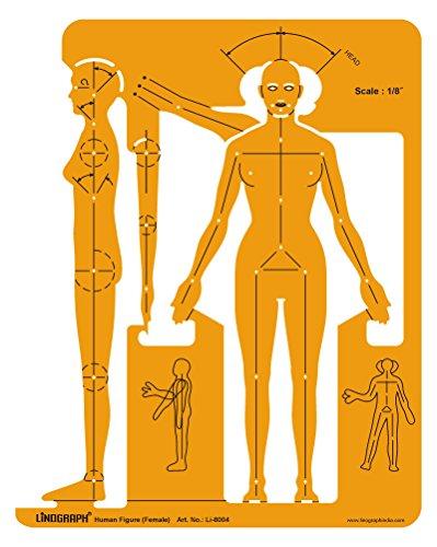Linographie weibliche menschliche Figur Zeichnung und Design Schablone Symbole Vorlage