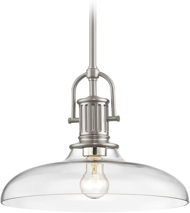 Industrial Satin Nickel Pendant 2021 spring and summer new Light 14-Inch with W Clear Over item handling Glass