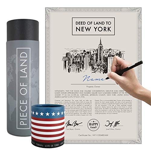happylandgifts® Echtes New York Grundstück als einzigartiges Geschenk für New York und USA Fans | Besitzurkunde mit Wunschnamen zum Selbsteintragen | New York Geschenke | Muttertagsgeschenke