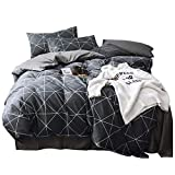 VClife Queen Black-Gray Duvet Cover Sets Modern Plaid Geometric Printed Bedding Sets - 100% Cotton Boy Man Comforter Cover Sets, Luxurious Soft, Wrinkle, Fade, Stain Resistant, 90'x90', Queen
