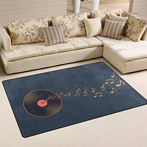 Alfombra antideslizante para decoración del hogar, vinilo vintage, notas de salida, notas sonoras, alfombra de suelo, sala de estar, dormitorio, felpudos de 152,4 x 99,1 cm