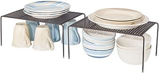 mDesign Juego de 2 estantes de cocina – Soportes para platos individuales de metal – Amplios organizadores de armarios par...