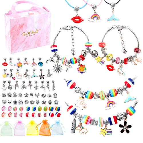 Charm Bracelets Kit , 74PCS DIY Jewelry Making Kits Pendants Rainbow Silver Plated Beads Chains Necklaces,Small Jewelry Bags,Instruction Book ,Pink Gift Box for Girls,Adults and Beginners Gift