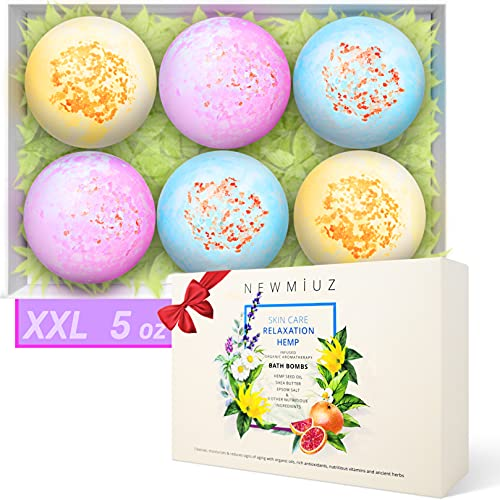 Organic Hemp Bath Bombs Gift Set Infused with Lavender, Chamomile, Ylang ylang Essential Oils, Epsom Salt & Shea Butter - Natural Spa Fizzes Best Birthday Gift for Women, Mother, Christmas