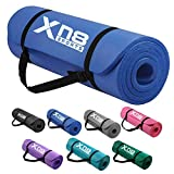 <span class='highlight'>XN8</span> Padded Exercise Yoga Mat NBR 15mm Thick with Carry Handle Strap for Pilates, Exercise, Aerobic, Gymnastics, fitness, Camping, Gym Non Slip Large Blue