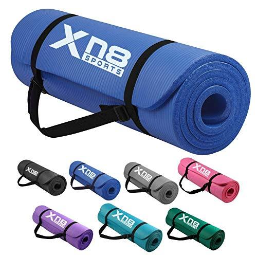Xn8 Tappetino Yoga 15mm di Spessore Imbottito-Antiscivolo Tappetino per Palestra-Pilates-Aerobico-Fitness-Esercizi a Casa con Cinghie