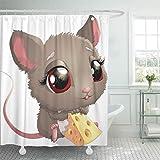 lovedomi Duschvorhang Essen Grau Cartoon Niedliche Maus Hält Käse Tier Spaß Duschvorhang Sets mit 12 Haken 72x72 Zoll Wasserdichtes Polyestergewebe Badezimmer Set