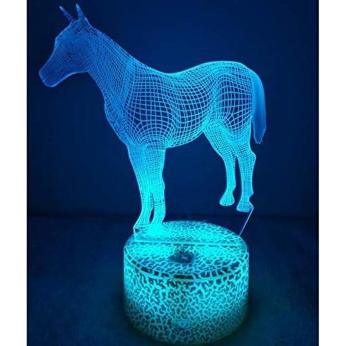 3D Caballo Ilusión Lámpara luz Nocturna 7 Colores Cambiantes Touch USB de Suministro de Energía Juguetes