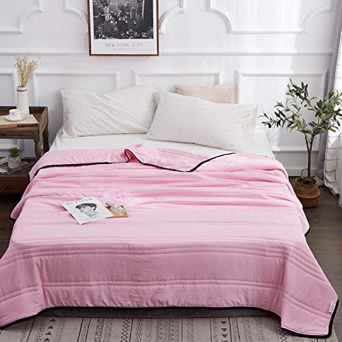 MUCHENXI Down-proof Cotton Shell,Washed secret road summer cool quilt, solid color compressed air-conditioned quilt, single double thin quilt-Pink_200*230cm