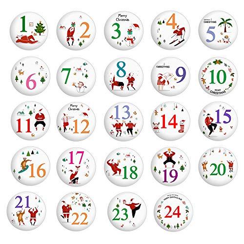 O-Kinee Adventskalender Zahlen Buttons zum Aufbügeln, Adventskalenderzahlen Anstecker 1 bis 24,Adventszahlen Buttons aus Alu Metall für DIY Weihnachten Kalender zum Selber Basteln und Dekorieren