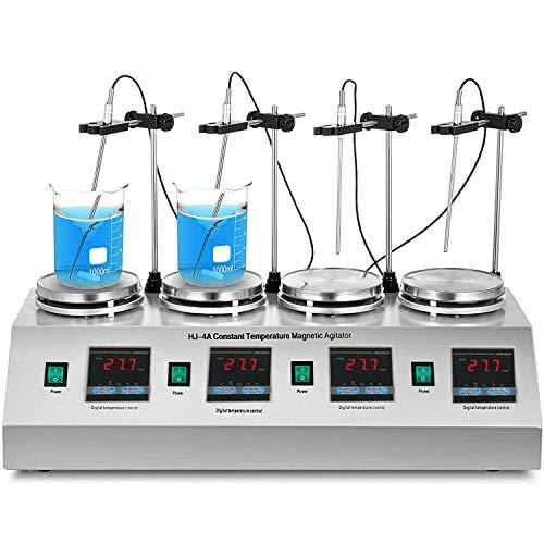Magnetrührer Mit Heizplatte Labor Magnetrührer Heizplatte 0~2400 RPM Magnetmischer Mixer Heizung Kontrolle Digitalanzeige Rührart (4 Unit Plate)