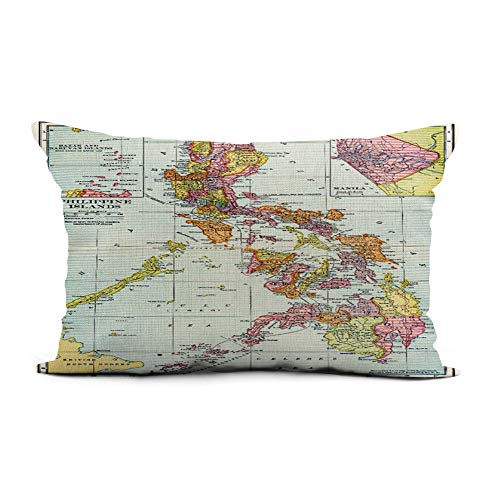 Topyee Throw Pillow Cover 12x20 Inch 1905 Map Philippines Filipino Island River Turn Century Home Decor Pillowcase Lumbar Pillow Case Cushion Cover for Sofa Couch Bed