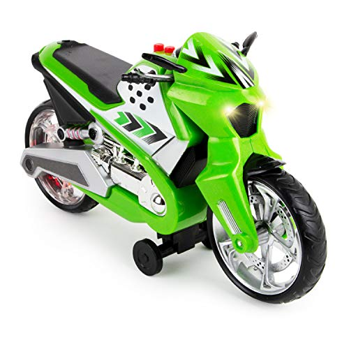 Boley Wheelie Lifter - 1 Pk Green Motorized Toy Motorcycle for Boys & Girls - Light & Sound Die Cast Motorcycle Toy for Kids Ages 3+