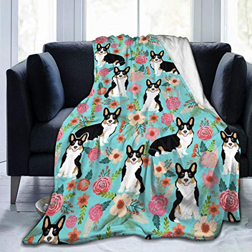 Corgi Cute Black and Tan Welsh Cardigan Corgi with Florals Flowers Super Soft Microfiber Fleece Throw Blanket Full Body Warm & Comfortable