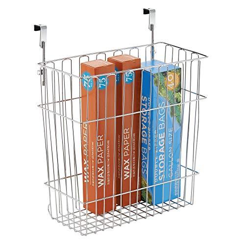 mDesign Mülleimer Küche für 15 L Müllbeutel – ein Abfalleimer aus Stahl mit Chromfinish – auch als Aufbewahrungskorb im Bad geeignet – einfach über die Schranktür hängen