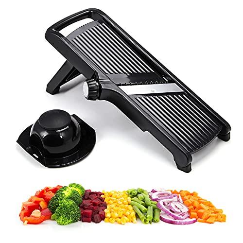 Taylor & Brown 3 in 1 Mandoline Slicer Adjustable Kitchen Food Mandolin Vegetable Julienne Slicer Chopper Cutter for Fruits from Paper-Thin to 9mm (Black)