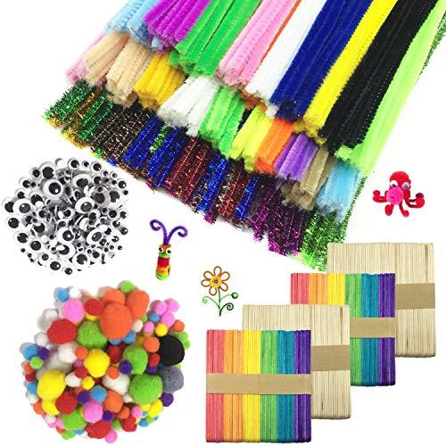 Wartoon Pipe Cleaners Crafts Set, Limpiadores de Pipa Chenilla Stem y Pompoms con Googly Wiggle Eyes y Craft Sticks para Craft DIY Art Supplies, 900 Piezas