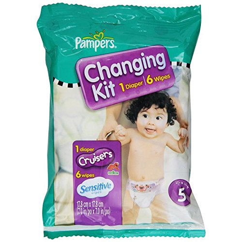 Pampers Cruisers Diapers and Sensitive Baby Wipes Travel Changing Kit, Size 5, Unscented, (Pack of 10)