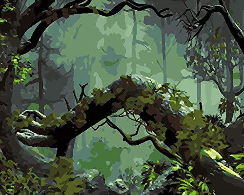 Pintar por Números para Adultos Raíces De Los Árboles del Bosque Verde Pintar por Numeros sobre Lienzo para Adultos Niños Principiantes - 16 * 20 Pulgadas Sin Marco
