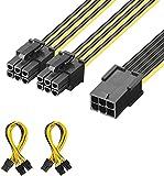 J&D 2 Paquetes 6 Pin Hembra a 2X 6 Pin Macho PCI Express (PCIe) Tarjeta de Vídeo Adaptador Cable Divisor de Alimentación - 20cm