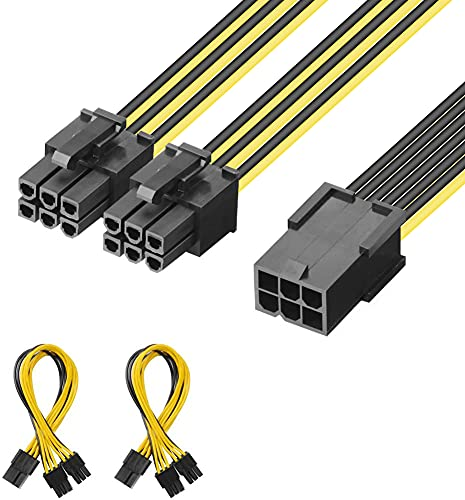 J&D 2er Pack 6 Pin Weiblich auf Dual 6 Pin Männlich PCI Express (PCIe) Grafikkarte PCI Express Splitter Kabel - 20cm