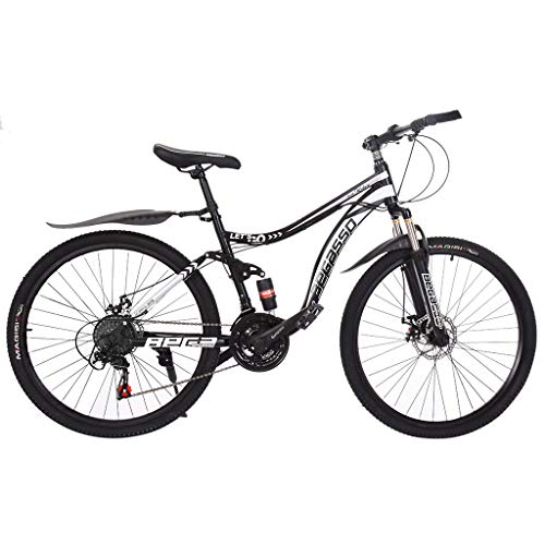 Mountain Bike Bicycle, 26in 21 Speed Carbon Steel Mountain Bike Full Suspension Bicycle, Variable Speed Double Disc Brake Bike Non-Slip Bike, Fashion Outdoor Sports City Road Bike (Black)