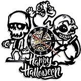 NIUMM Reloj De Pared Feliz Halloween Reloj De Pared Decorativo De Vinilo Reloj De Pared Cráneo...