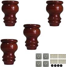 ZJZ Massief houten meubelpoten,Houten broodvoeten,Ronde vervangende bankvoeten,Walnoot,met montageplaat en schroeven,12cm