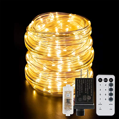 ANJAYLIA 66ft 200 LED Rope Lights Outdoor Waterproof String Lights Plug in with Remote Control Dimmable Twinkle Fairy...