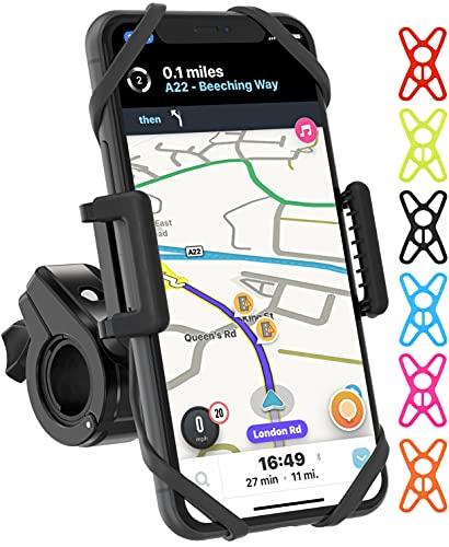 TruActive Premium Bike Phone Holder, Motorbike Phone Holder, Phone Holder for Bike, Motorcycle Phone Mount, 6 Colour Bands, Cycling Handlebar Bag, Universal Handlebar and Phone, Tool Free Fit