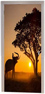 A.Monamour Traditional African Tribal Elephant Under Tree at Sunset Time Landscape Picture Print Vinyl Room Door Decals Wallpaper Wall Murals Removable Door Stickers Posters DIY Art Decors for Home