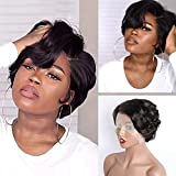 Pixie Cut Wigs VIPbeauty Short Black 13x6x1 Pixie Cut Bob Wig for Black Women Brazilian Loose Wave Human Hair T Part Transparent Lace Front Bob Wigs Pre Plucked Hairline with Baby Hair