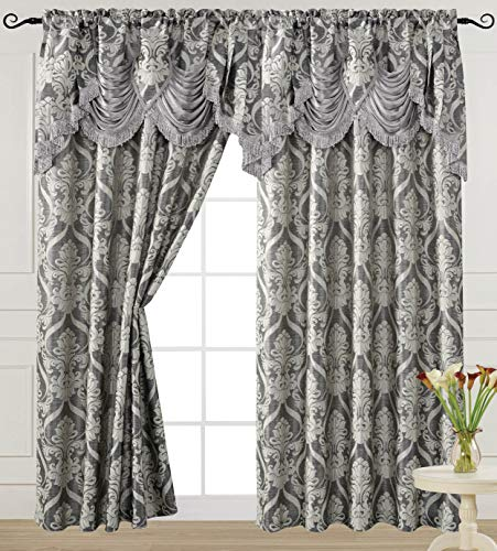 V Luxury Jacquard Curtain Panel with Attached Waterfall Valance, 54 by 84-Inch Ashley Grey