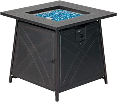 """BALI OUTDOORS Firepit Gas Fireplace 28"""" Square Gas Fire Pit Table 50,000BTU Propane Fire Pits, Black"""