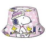 Bonito Sombrero de Pescador Rosa Sn-oopy, protección UV de Verano, Sombreros de Cubo de Viaje, Gorra de Sol Plegable para Playa para Hombres y mujeres-44I
