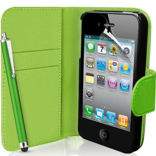 SUPERGETS - Custodia a Portafoglio per Apple iPhone 4 / 4S, Pellicola salvaschermo, Pennino Capacitivo e Panno di Pulizia I Love Green Color