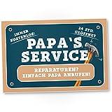 Papa's Service - Kunststoff Schild, Türschild Papas Werkstatt, Geschenkidee Geburtstagsgeschenk...