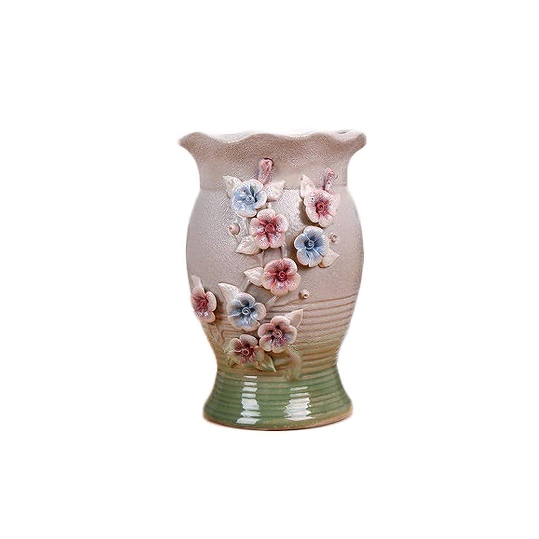 ことわざ自慢バッジPFKE シンプルなヨーロッパの大旧パイルの高節マルチ肉肉セラミックポット、緑の植物装飾、特大、通気性のドライフラワーの花瓶 シンプルで実用的な製品 (Color : A)