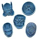 Cuticuter (Pack Supereroi della Marvel - Formina per Biscotti, Blu, 16x 14x 1,5cm, 5Pezzi