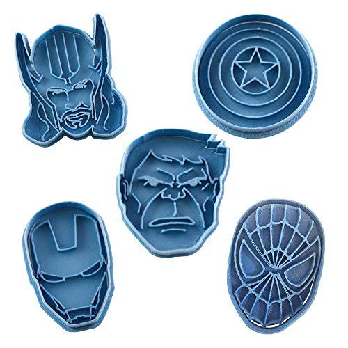 Cuticuter Superheroes Marvel Keksausstecher, Blau, 16 x 14 x 1,5 cm, 5 Stück