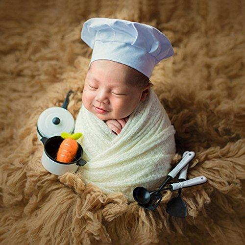 iKulilky Neugeborenes Baby Kochmütze Jungen Mädchen Fotografie Requisiten Outfits Weiß Koch Chef Kostüm Foto Schießen Kopfschmuck
