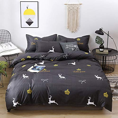 DUIPENGFEI Skin-friendly thick cotton, 3-piece set of quilt cover, bed sheet, pillowcase, dark gray reindeer, suitable for 1.2m single bed