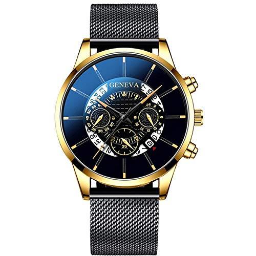 Moda Relojes Hombre Elegante Vestir, Fashion Cool Unique Digital Literal Multi Layer Dial Hombres Reloj De Correa De Malla De Cuarzo